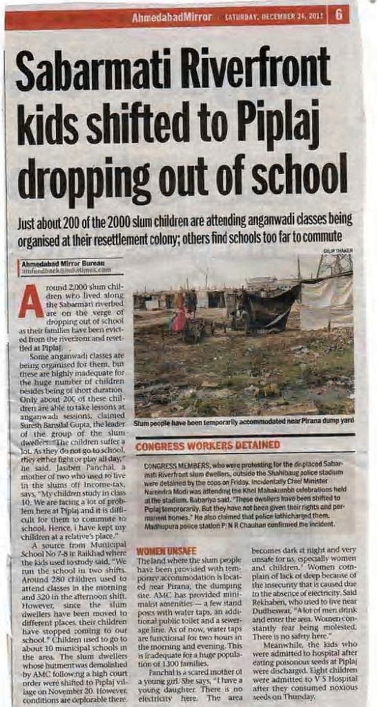 Sabarmati Riverfront kids shifted to Piplaj dropping out of school
